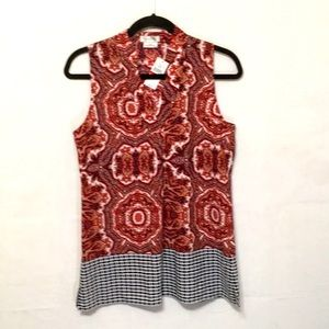 Van Heusen Red Print Sleeveless Tunic Top XS